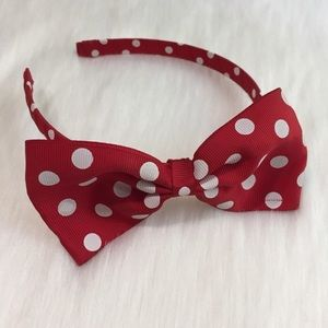 Other - Girls Red Polka Dot Bow Headband